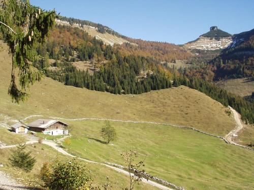 Foto: hofchri / Mountainbike Tour / Rund um den Schlenken / Beginn der kurzen Schiebestrecke von der Nigelkaralm zur Tenneralm / 07.07.2009 18:38:38