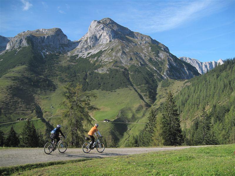 Foto: Heidi Schützinger / Mountainbiketour / Almrunde am Ladenberg / zurück gehts über die Brandstättalm und Hacklhütte wieder nach Werfenweng / 20.09.2014 12:16:06