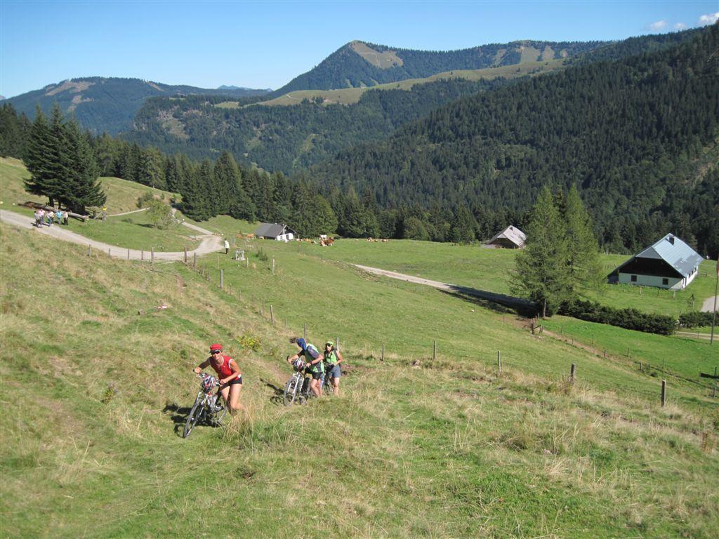 Foto: Heidi Schützinger / Mountainbiketour / Almtour zwischen Gaißau und Hintersee / Nach der Ladenbergalm  gibt  es  ein kurzes Schiebestück zum Almsattel / 10.09.2011 18:16:47