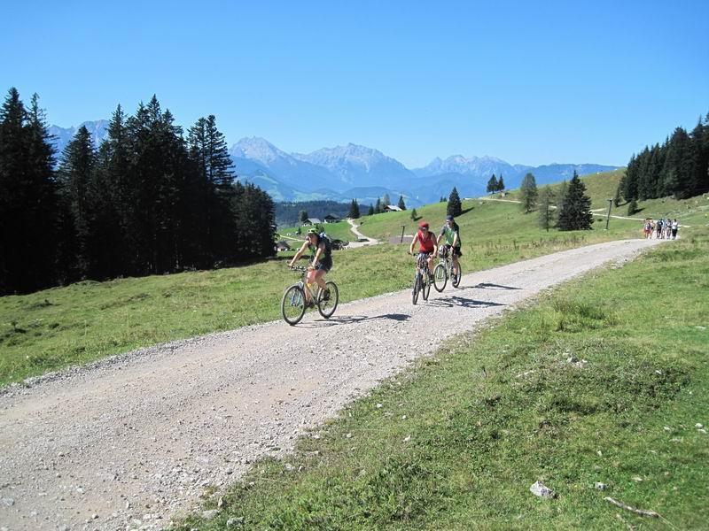 Foto: Heidi Schützinger / Mountainbiketour / Almtour zwischen Gaißau und Hintersee / Herrlichen Panorama während der Auffahrt im Bereich der Latschenalm  / 10.09.2011 18:19:47
