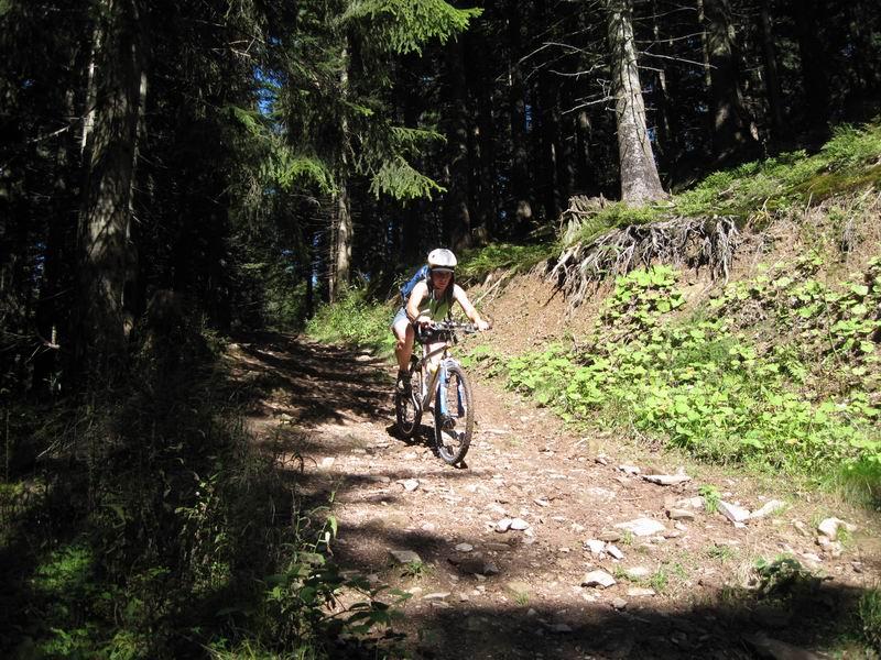 Foto: Heidi Schützinger / Mountainbiketour / Almtour zwischen Gaißau und Hintersee / Vom Almsattel gehts dann abwärts Richtung Gaißau / 10.09.2011 18:15:22