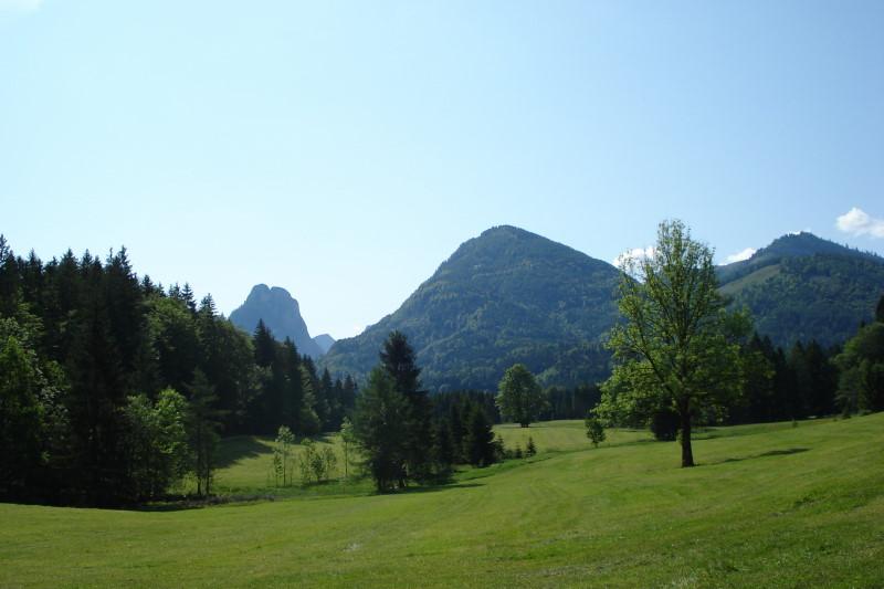 Foto: Günter Siegl / Mountainbike Tour / Breitenberg - Runde / Kurz nach Abersee mit Blick auf Sparber und Bleckwand. / 21.05.2011 10:27:54