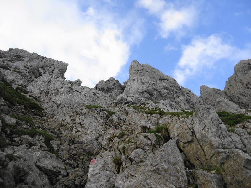 Foto: Günter Siegl / Wander Tour / Von Norden auf die Ackerlspitze / Beim Kletterspaß auf den Weg achten - die roten Punkte verblassen zusehends! / 10.08.2016 20:09:16