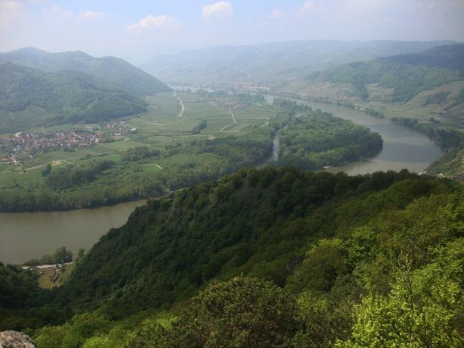 Foto: Wolfgang Dröthandl / Wander Tour / Vogelberg-Schloßberg - Runde / Blick auf Rossatz am anderen Donauufer / 08.05.2017 09:40:25