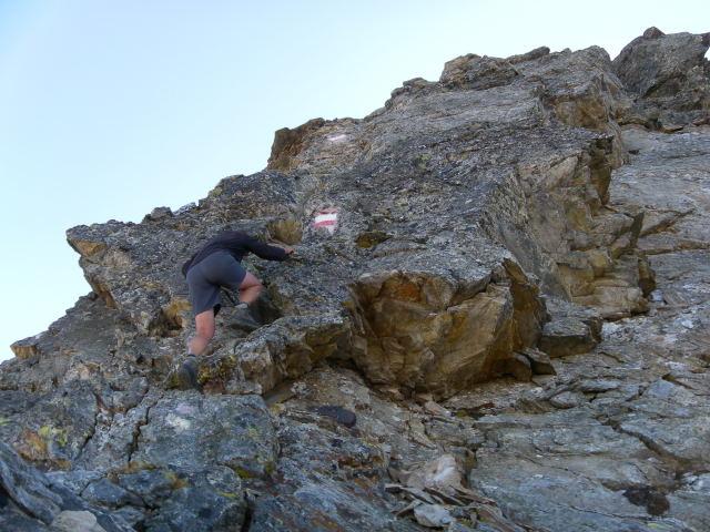 Foto: Wolfgang Lauschensky / Wander Tour / Hochgolling - über den NW-Grat / erste Gipfelsteilstufe / 08.10.2011 16:21:23