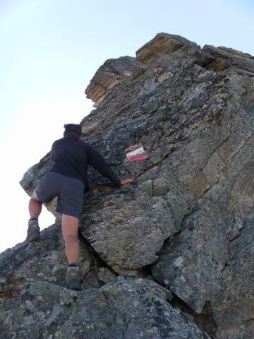 Foto: Wolfgang Lauschensky / Wander Tour / Hochgolling - über den NW-Grat / leicht ausgesetztes Eck / 08.10.2011 16:21:03