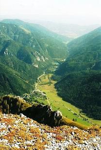 Foto: Wolfgang Dröthandl / Wander Tour / Hohe Weichsel - Runde / Tiefblick vom Kamm der Aflenzer Staritzen auf Seewiesen / 31.01.2011 12:11:19