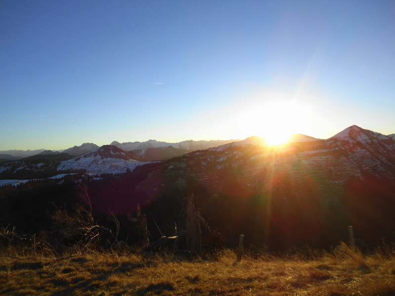 Foto: Günter Siegl / Wander Tour / Von der Postalm auf das Wiesler Horn, 1603m / Sonnenuntergang / 28.12.2015 19:53:53