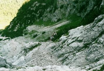 Foto: Wolfgang Dröthandl / Wander Tour / Von Kulm auf den Grimming / In der ersten Felsstufe aus dem Stribinggraben in das Große Kar (Sicherungen) / 16.05.2011 14:36:58