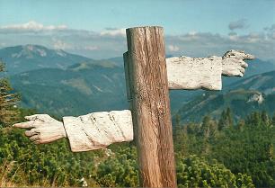 Foto: Wolfgang Dröthandl / Wander Tour / Vom Niederalpl auf den (die) Tonion / Blick von der Gipfelwiese auf Göller (links) und Wildalm / 31.01.2011 12:29:35