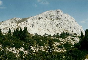 Foto: Wolfgang Dröthandl / Wander Tour / Brandstein - einsamer Hochschwab / Brandstein vom Süden (Pfaffing), Anstieg erfolgt über die 'Rampe' links / 16.05.2011 14:04:59