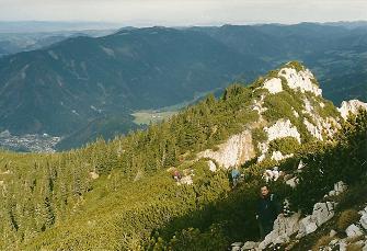 Foto: Wolfgang Dröthandl / Wander Tour / Über die Voralm zum Dreiländereck NÖ - OÖ - Stmk / Abstieg vom Gipfel durch Latschengassen, links im Tal Hollenstein / Ybbs / 08.04.2011 11:20:09