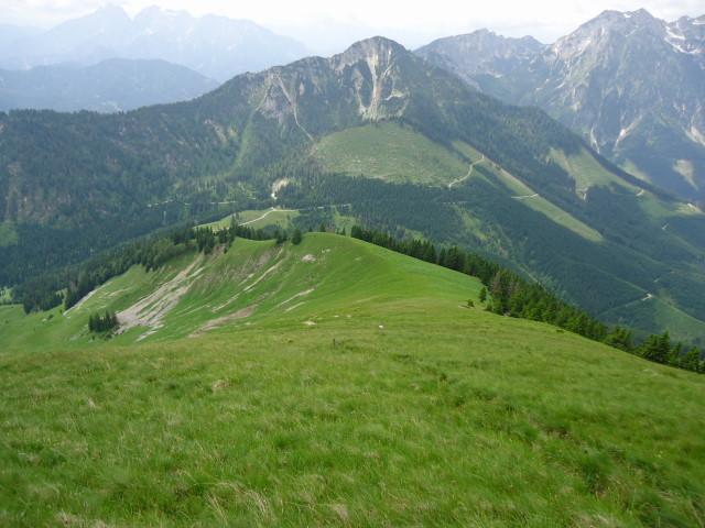 Foto: Günter Siegl / Wander Tour / Großes Maiereck - Rundwanderung / Abstieg Richtung Kälberleiten mit Blick auf den Leckerkogel / 01.07.2012 12:49:30