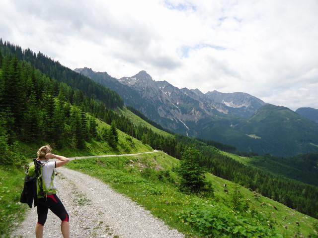 Foto: Günter Siegl / Wander Tour / Großes Maiereck - Rundwanderung / Abstieg nach Oberlaussa mit Blick auf die Hallermauern / 01.07.2012 12:46:07