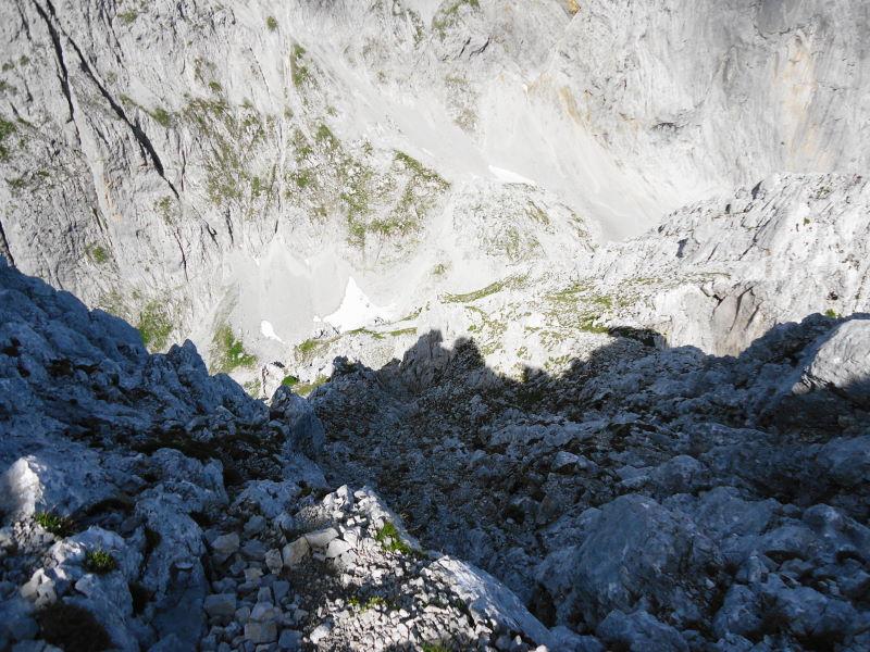 Foto: Günter Siegl / Wander Tour / Durch die Steinerne Rinne zur Vorderen und Hinteren Goinger Halt / Rückblick Gipfelanstieg / 12.08.2016 12:17:59