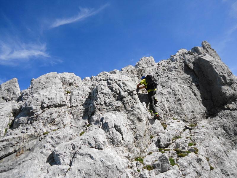 Foto: Günter Siegl / Wander Tour / Durch die Steinerne Rinne zur Vorderen und Hinteren Goinger Halt / Ein paar Eisenklammern in Gratnähe / 12.08.2016 12:14:53