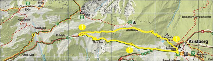 Foto: Jürgen Zudrell - Panoramagasthof Kristberg / Wander Tour / Kristberger Panoramatour über das Muttjöchle  / Übersichtskarte vom Kristberg – Silbertal im Montafon / 13.07.2011 00:46:55