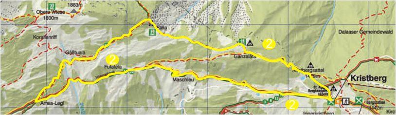 Foto: Jürgen Zudrell - Panoramagasthof Kristberg / Wander Tour / Kristberger Panoramatour über das Muttjöchle  / Übersichtskarte vom Kristberg – Silbertal im Montafon / 13.07.2011 00:47:03