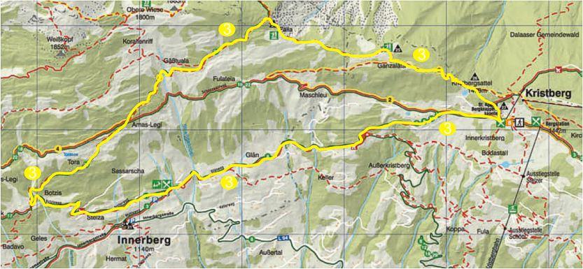 Foto: Jürgen Zudrell - Panoramagasthof Kristberg / Wander Tour / Kristberger Panoramatour über das Muttjöchle  / Übersichtskarte vom Kristberg – Silbertal im Montafon / 13.07.2011 00:47:12