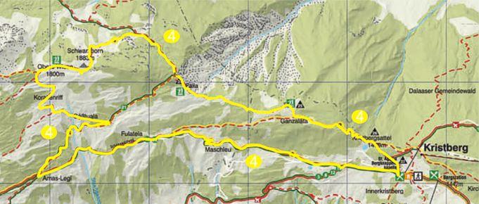 Foto: Jürgen Zudrell - Panoramagasthof Kristberg / Wander Tour / Kristberger Panoramatour über das Muttjöchle  / Übersichtskarte vom Kristberg – Silbertal im Montafon / 13.07.2011 00:47:20