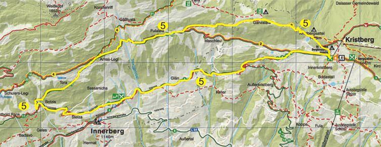 Foto: Jürgen Zudrell - Panoramagasthof Kristberg / Wander Tour / Kristberger Panoramatour über das Muttjöchle  / Übersichtskarte vom Kristberg – Silbertal im Montafon / 13.07.2011 00:47:29