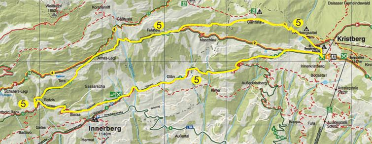 Foto: Jürgen Zudrell - Panoramagasthof Kristberg / Wandertour / Panorama Rundwanderweg Kristberg / Übersichtskarte vom Kristberg – Silbertal im Montafon / 13.07.2011 00:35:33