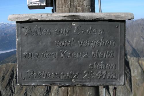 Foto: Samson / Wander Tour / Über die Grazer Hütte auf den Preber / Tafel am Gipfelkreuz des Prebers (hier ist der Preber sogar um 1 m Höher als in den Karten). / 05.10.2009 10:02:03