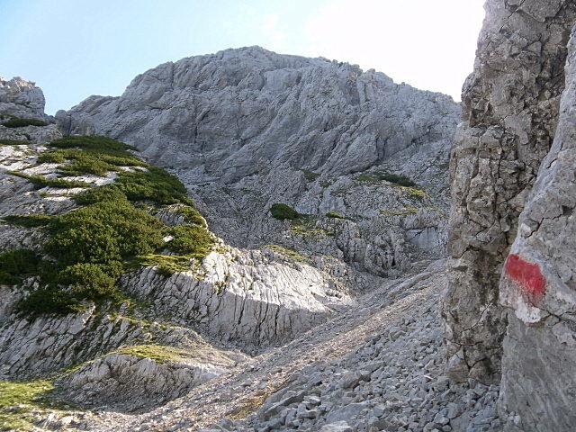 Foto: Wolfgang Lauschensky / Wander Tour / Durch das Kleine Griesener Kar auf das Lärchegg  / im oberen Schuttkar wird links hinaufgequert / 31.07.2012 22:03:46
