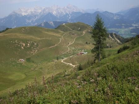 Foto: Wolfgang Dröthandl / Wander Tour / Wildseeloder und Henne / Aufstieg zur Hütte, Blick zurück auf Wildalm und Lärchfilzkogel / 17.08.2015 15:18:14