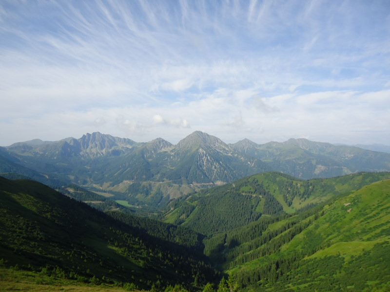 Foto: Günter Siegl / Wander Tour / Vom Liesinggraben auf das Himmeleck (2096m) / Blick über das Triebental zu den Griessteinen, Gamskogel etc. / 14.08.2014 17:34:03