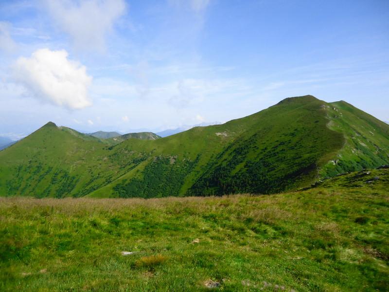 Foto: Günter Siegl / Wander Tour / Vom Liesinggraben auf das Himmeleck (2096m) / rechts das Himmeleck, links Himmelkogel / 14.08.2014 17:33:11