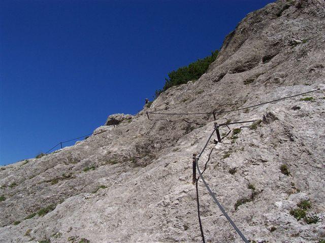 Foto: Karlheinz Kutil / Wander Tour / Dolomitensteig im Hinteren Stodertal / Gut versicherte Felsstufe / 20.08.2008 21:40:23