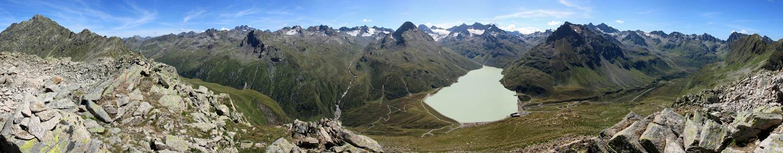 Foto: tomy37 / Wander Tour / Bielerspitze - Aussichtskanzel über dem Silvretta Stausee (2545m) / Süd-Panorama  / 25.08.2009 23:39:38