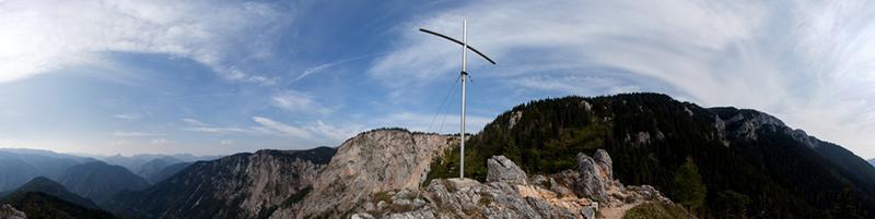 Foto: lezfez / Wander Tour / Klettersteige Weichtalklamm und Turmstein / Panorama vom Turmstein von Rax bis Schneeberg / 28.09.2009 14:08:26