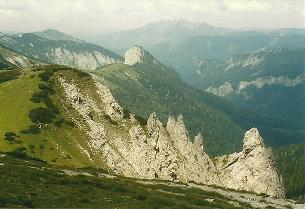 Foto: Wolfgang Dröthandl / Wandertour / Von Altenberg an der Rax auf die Schneealpe / Höhenweg von der Lurgbauerhütte, im Hintergrund Göller / 01.02.2011 13:11:09