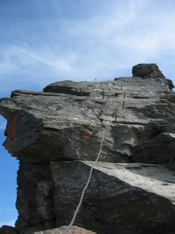 Foto: Gernot Huber / Wander Tour / Drei Dreitausender am Wurtenkees (3123m) / Schlüsselstelle am Westgrat / 04.01.2015 16:59:37