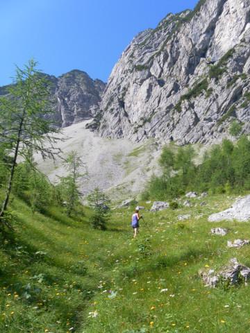 Foto: Wolfgang Lauschensky / Wander Tour / Über die Schwarzachenalm zum Sonntagshorn / Einstieg ins obere Kar / 15.07.2011 18:50:32