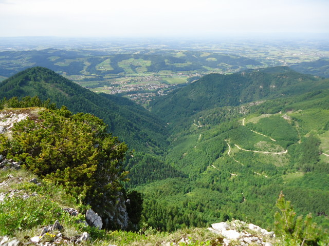 Foto: Günter Siegl / Wander Tour / Von Scharnstein auf den Windhagkogel / Blick vom Gipfel auf den Aufstiegsweg Tießenbach / 07.06.2012 21:28:26