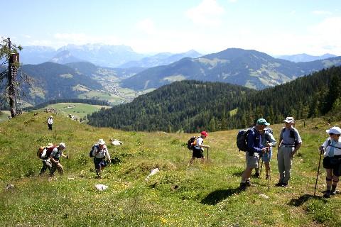 Foto: bergsepp / Wander Tour / Bergwanderung über die Thaler Kögel / Über die Höslalm am Weg zum Thalerkogel, mit Blick in die Wildschönau und hinten der Wilde Kaiser / 30.05.2009 21:04:57