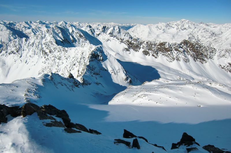 Foto: Thomas Paschinger / Skitour / Kuhscheibe, 3189m  / Aufstiegsweg über den Roßkarferner / 12.02.2010 15:45:40