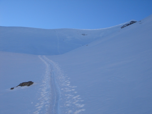 Foto: Manfred Karl / Ski Tour / Zwingscharte, 2760m - bzw. Hoher Tenn - Schneespitze, 3317m / Der lange Gipfelhang zum Zwingkopf / 21.12.2008 16:35:29