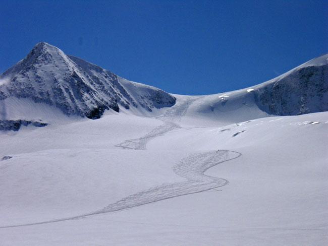 Foto: Grasberger Gerhard / Ski Tour / Großvenediger, 3666m - von Norden / Aufstiegs-abfahrtverlauf Venedigerscharte. / 04.05.2009 14:22:11