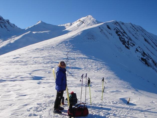 Foto: Manfred Karl / Ski Tour / Imbachhorn, 2470m / Am Sattel zwischen Roßkopf und Brennstein nach dem Gegenanstieg / 21.12.2008 16:42:58