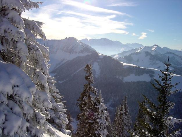 Foto: Manfred Karl / Ski Tour / Königsberghorn, 1621m / Regenspitze, im Hintergrund Hoher Göll / 19.12.2008 17:32:53