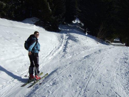 Foto: hofchri / Skitour / Schlenken (über Jägernase) / Abzweigung! Links in den Wald geht es über Jägernase - Rechts einfacher über Forststraße zur Schlenkenalm / 08.01.2009 20:26:09