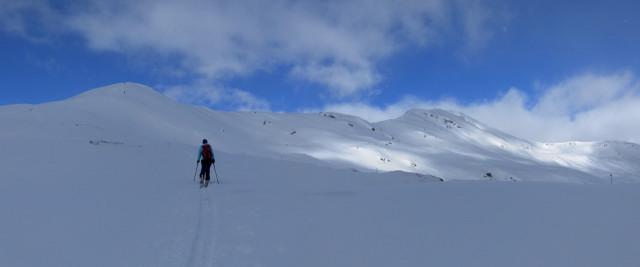 Foto: Wolfgang Lauschensky / Ski Tour / Baumgartgeier, 2392m, und Ronachgeier, 2236m / Ronachgeier links und Baumgartgeier rechts beim Anstieg über den Südrücken / 04.02.2014 20:39:43