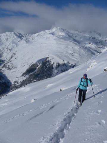 Foto: Wolfgang Lauschensky / Ski Tour / Baumgartgeier, 2392m, und Ronachgeier, 2236m / Blick zum Salzachgeier aus dem Gipfelhang des Baumgartgeiers / 04.02.2014 20:35:48