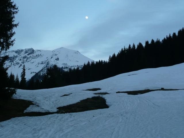 Foto: Manfred Karl / Skitour / Seehorn, 2320m / Letzter Blick zurück zum Seehorn, der Mond ist bereits aufgegangen / 27.01.2009 21:56:04