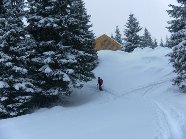 Foto: Wolfgang Lauschensky / Ski Tour / Naviser Kreuzjöchl (2536m) / freie Hänge unter der Naviserhütte / 12.02.2013 17:28:50