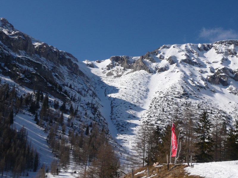 Foto: Christoph Helm / Skitour / Durch den Karl-Graben auf die Heukuppe / Blick vom Waxriegelhaus zum Karlgraben / 28.02.2010 12:04:27